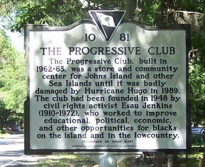 The Progressive Club Marker, front image. Click for full size.