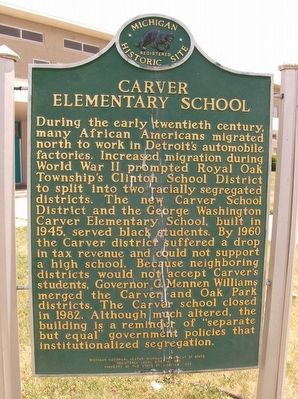 Carver Elementary School Marker image. Click for full size.