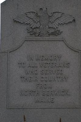 North Berwick Veterans Memorial Marker Front Inscription image. Click for full size.