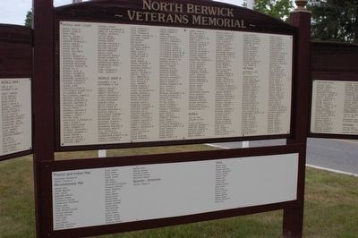 North Berwick State of Maine Veterans Memorial Marker Middle panel image. Click for full size.