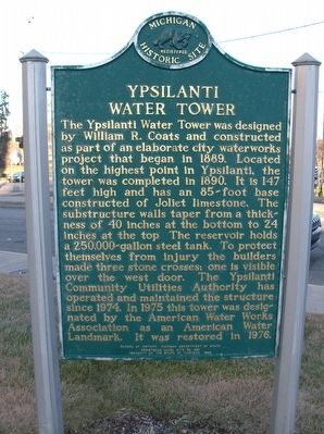 Ypsilanti Water Tower Marker - Side 1 image. Click for full size.