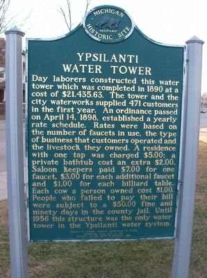Ypsilanti Water Tower Marker - Side 2 image. Click for full size.