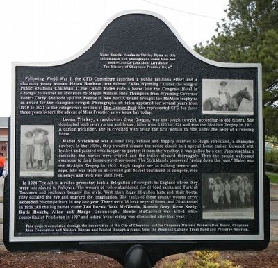 Cheyenne Frontier Days™ (Part II) Marker, reverse image. Click for full size.