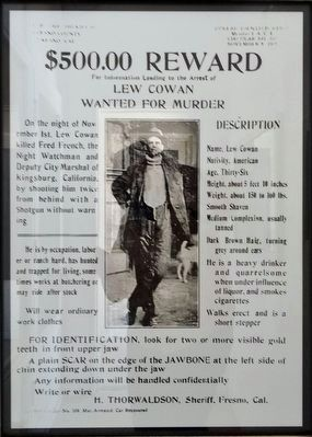 $500.00 Reward Poster for Lew Cowan image. Click for full size.