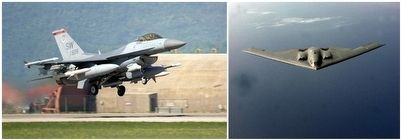 F-16 Fighter & B2 Bomber in Operation Allied Force. image. Click for full size.