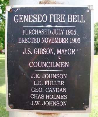 Geneseo Fire Bell Marker image. Click for full size.