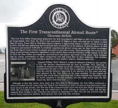 The First Transcontinental Airmail Route Marker image. Click for full size.