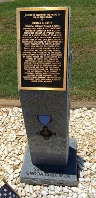 Award of Air Force Cross to Donald G. Smith Marker image. Click for full size.