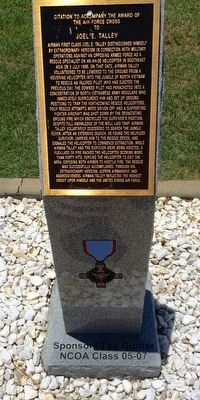 Award of Air Force Cross to Joel E. Talley Marker image. Click for full size.