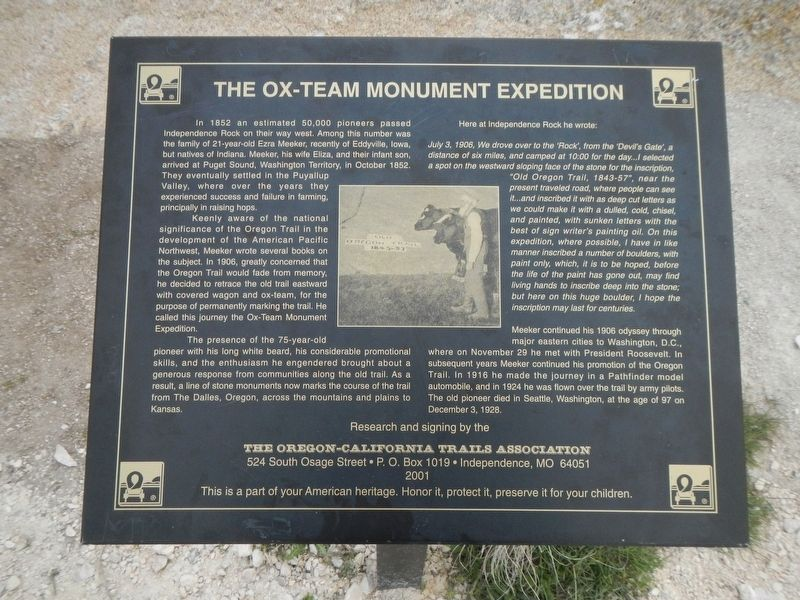 The Ox-Team Monument Expedition Marker image. Click for full size.