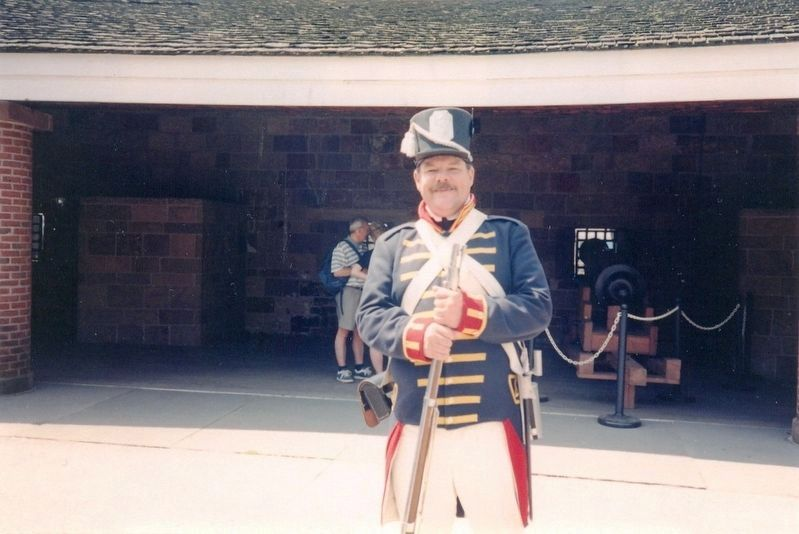 Inside Castle Clinton National Monument-Soldier in dress uniform image. Click for full size.