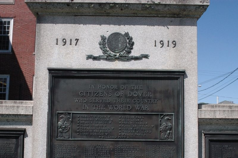 Dover NH WWI Memorial Marker image. Click for full size.