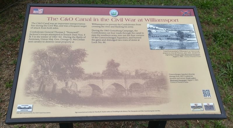 The C&O Canal in the Civil War at Williamsport Marker image. Click for full size.