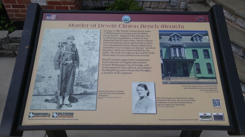 Murder of Dewitt Clinton Rench (Rentch) Marker image. Click for full size.