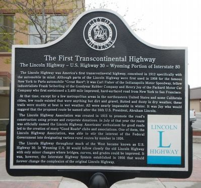 The First Transcontinental Highway Marker image. Click for full size.