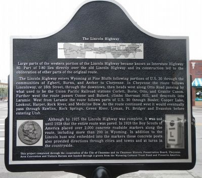 The First Transcontinental Highway Marker, reverse image. Click for full size.