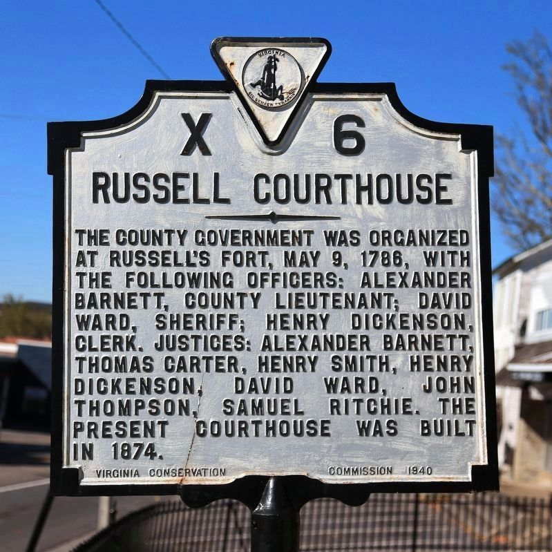 Russell Courthouse Marker image. Click for full size.