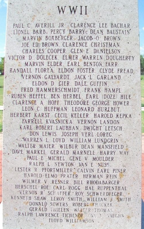 Russell County Veterans Memorial WWII Honored Dead image. Click for full size.