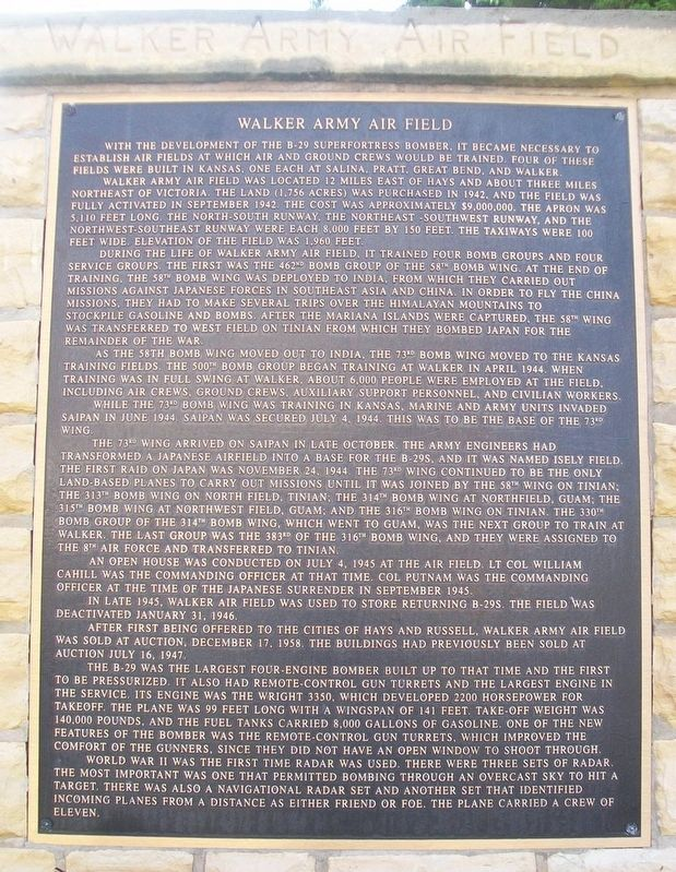 Walker Army Airfield Marker image. Click for full size.