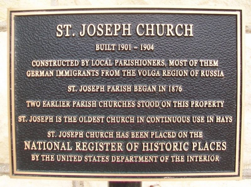St. Joseph Church NRHP Marker image. Click for full size.