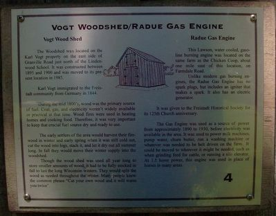 Vogt Woodshed/Radue Gas Engine Marker image. Click for full size.