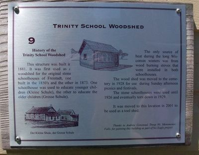 Trinity School Woodshed Marker image. Click for full size.