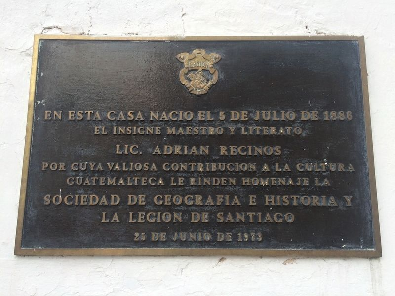 Adrian Recinos Born in this House Marker image. Click for full size.