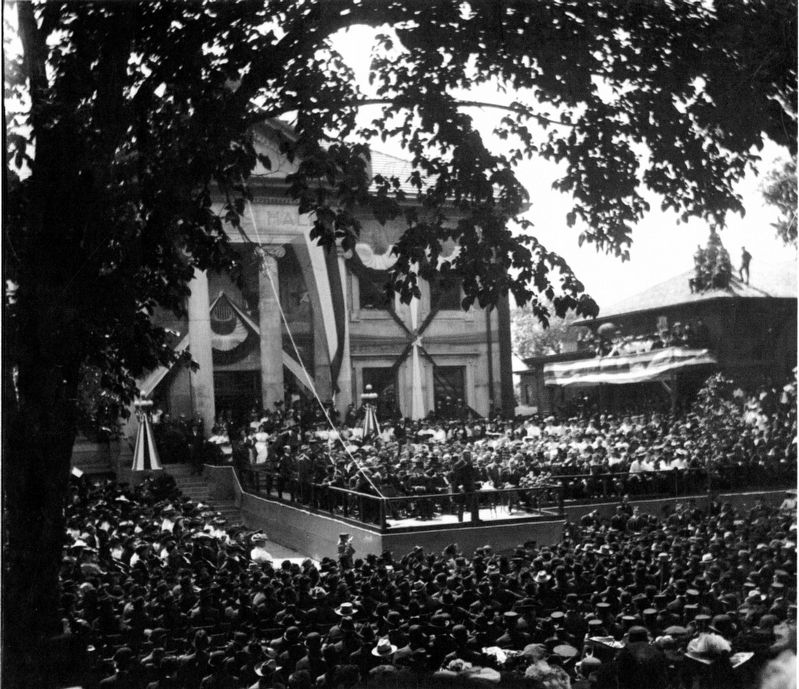 June 3, 1903 Dedication of Veterans Memorial Hall by President T. Roosevelt image. Click for full size.