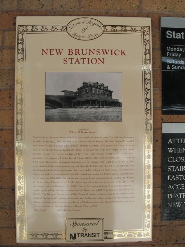 New Brunswick Station Marker image. Click for full size.