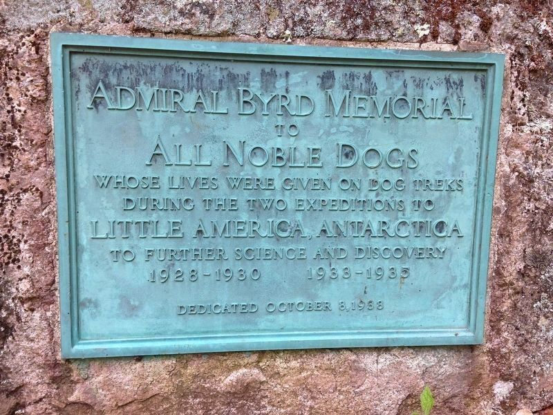 Marker dedicated by Admiral Byrd: image. Click for full size.