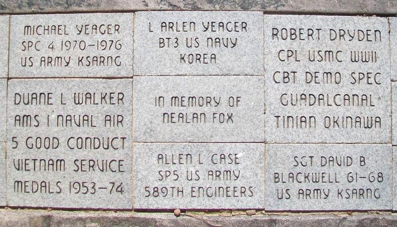 Pawnee County Area All Veterans Memorial Pavers image. Click for full size.
