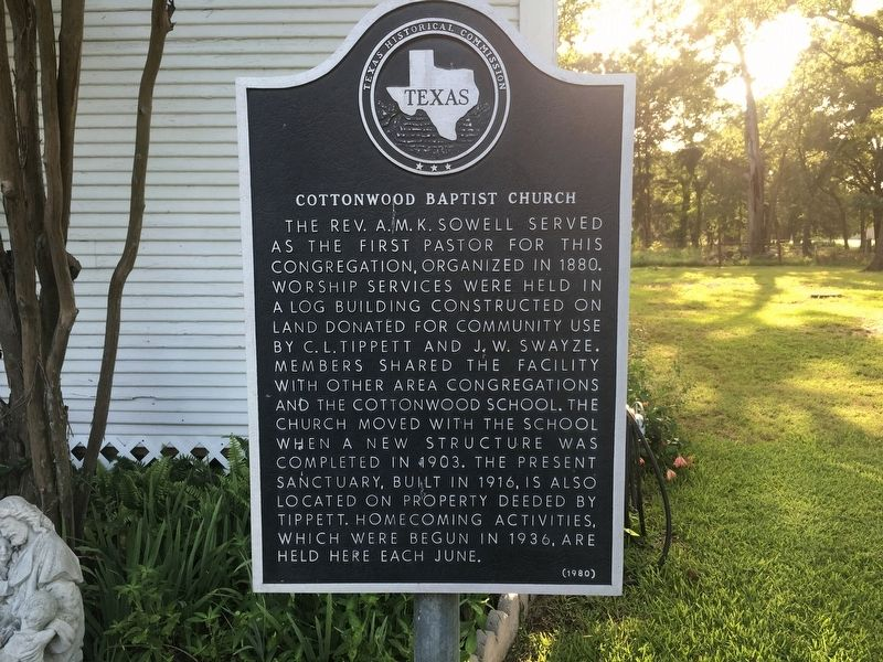 Cottonwood Baptist Church Marker image. Click for full size.