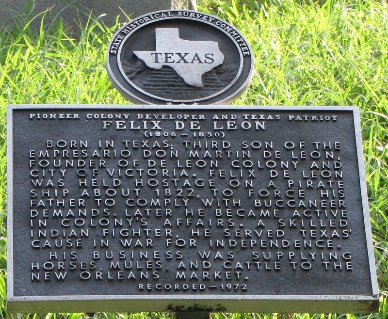 Felix De Leon Texas Historical Marker image. Click for full size.