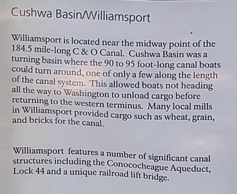 Cushwa Basin/Williamsport Marker image. Click for full size.