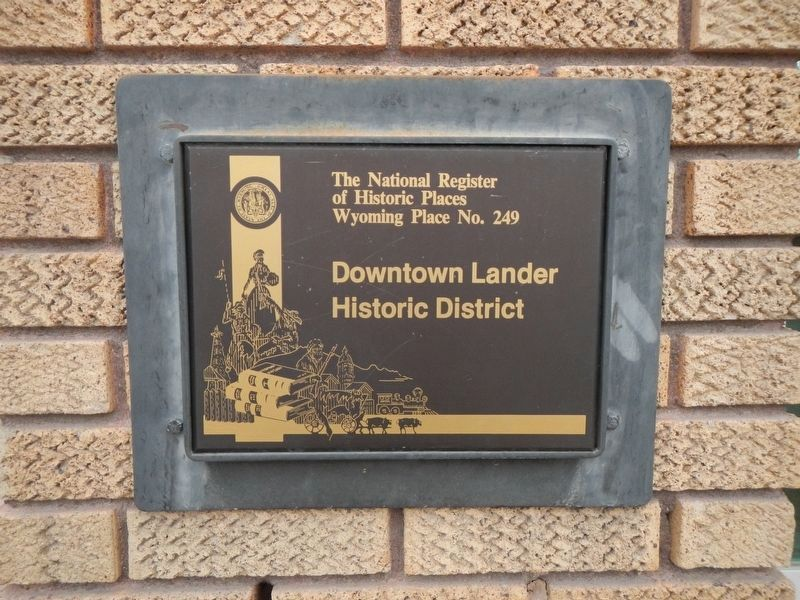 Downtown Lander Historic District plaque image. Click for full size.