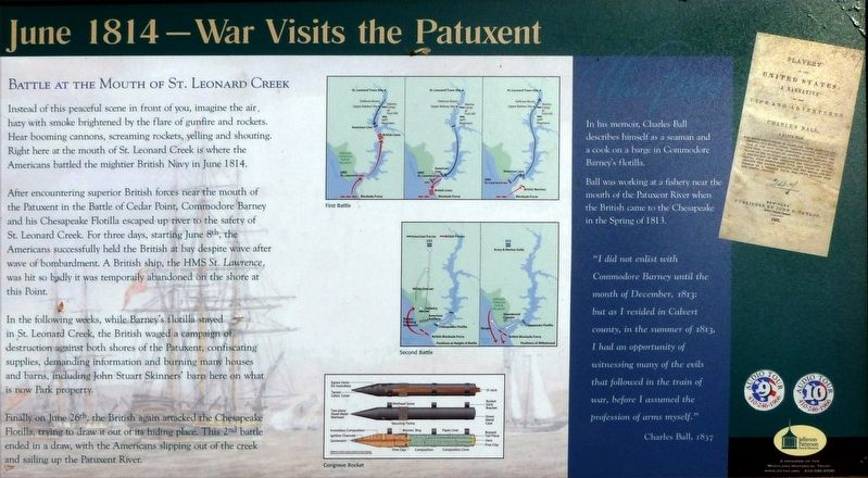 June 1814 — War Visits the Patuxent Marker image. Click for full size.
