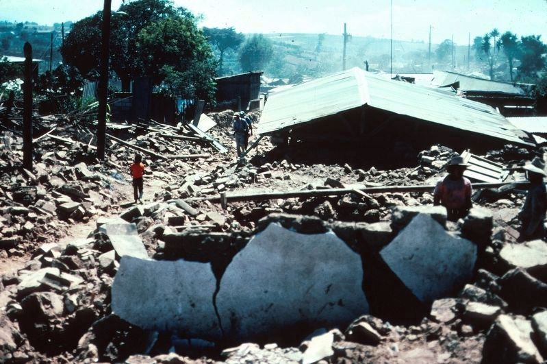 The nearby town of Patzicia after the 1976 earthquake in Guatemala image. Click for full size.