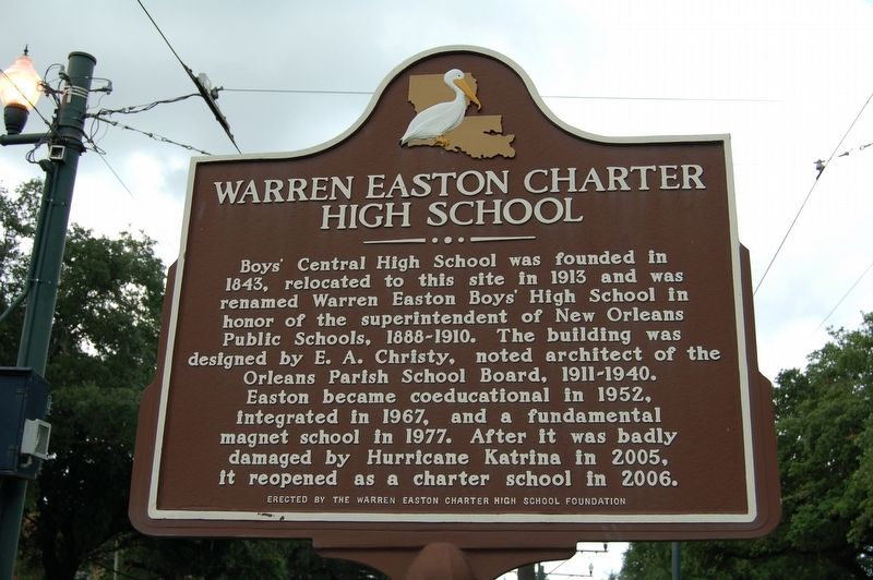 Warren Easton Charter High School Marker image. Click for full size.