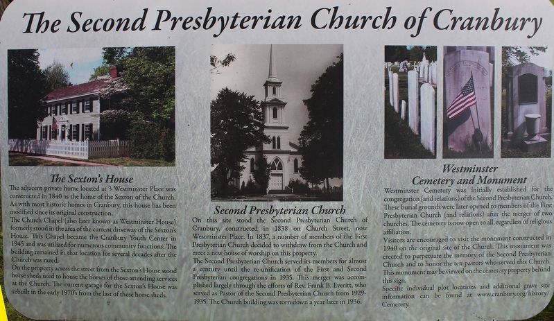 The Second Presbyterian Church of Cranbury Marker image. Click for full size.