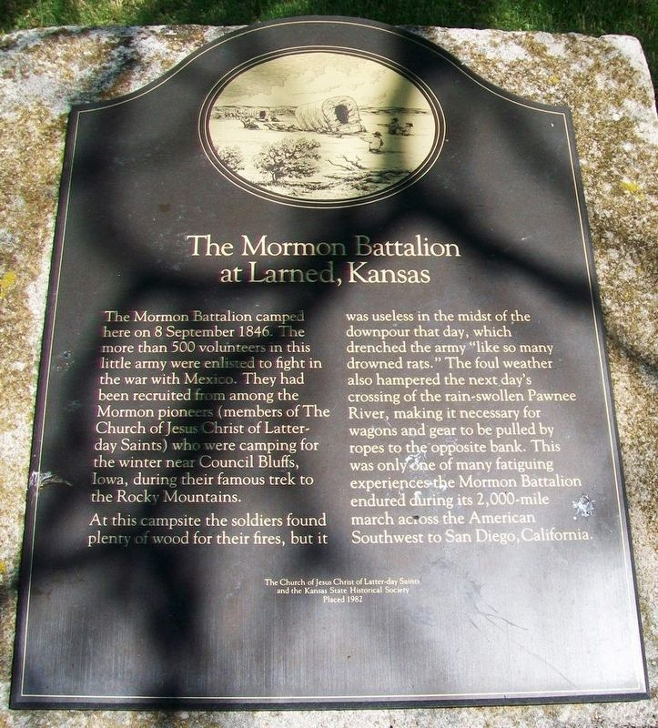 The Mormon Battalion at Larned, Kansas Marker image. Click for full size.