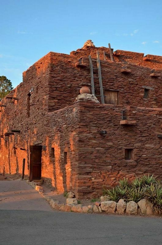 North elevation of Hopi House at sunset. image. Click for full size.
