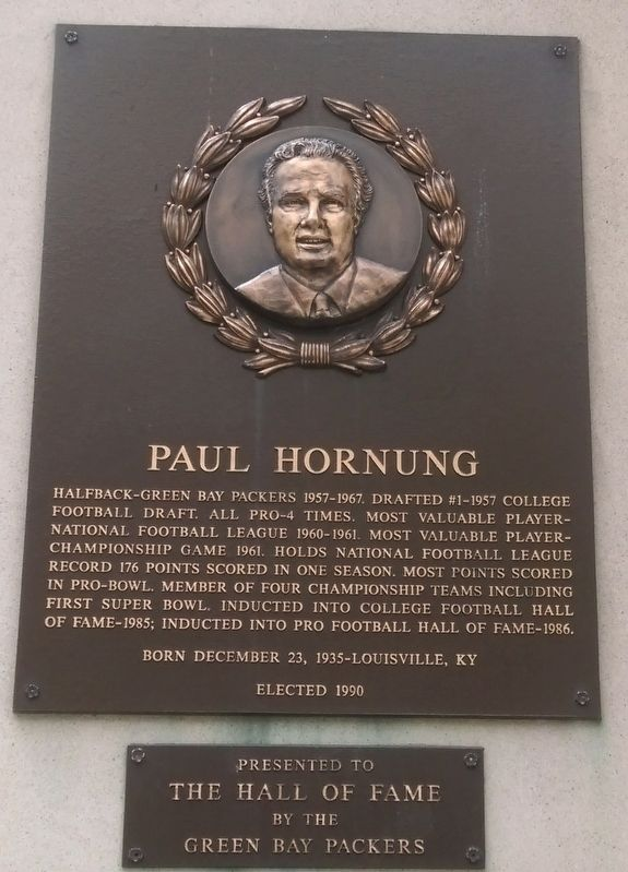 Paul Hornung Marker image. Click for full size.