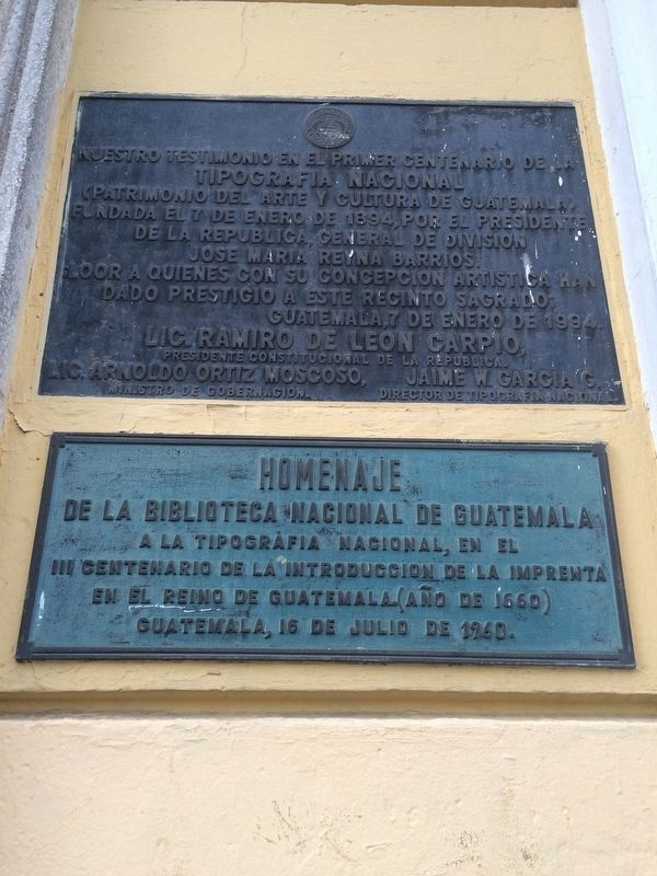300th Anniversary of the Printing Press in Guatemala Marker image. Click for full size.