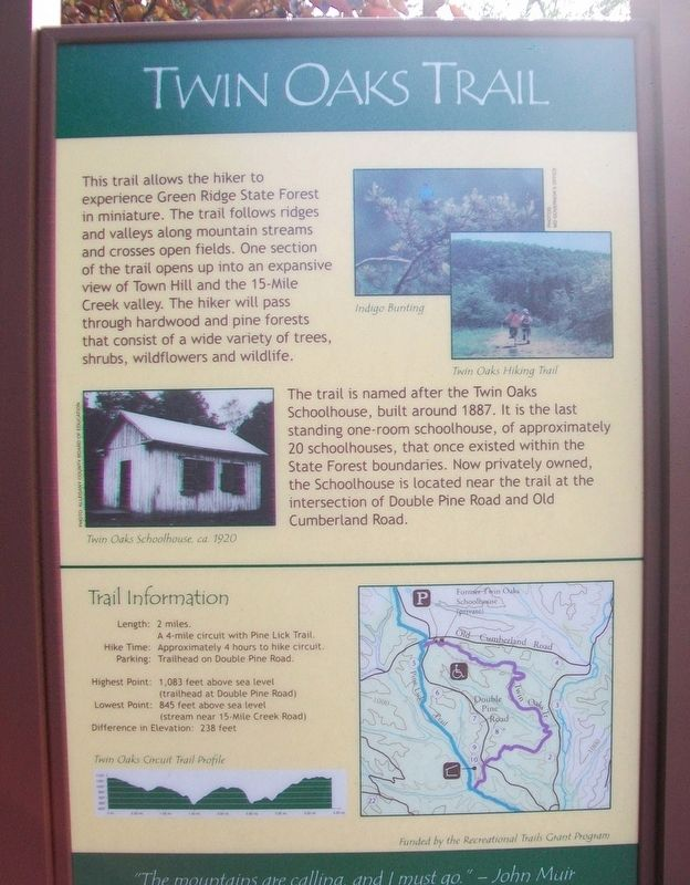 Twin Oaks Trail Marker image. Click for full size.