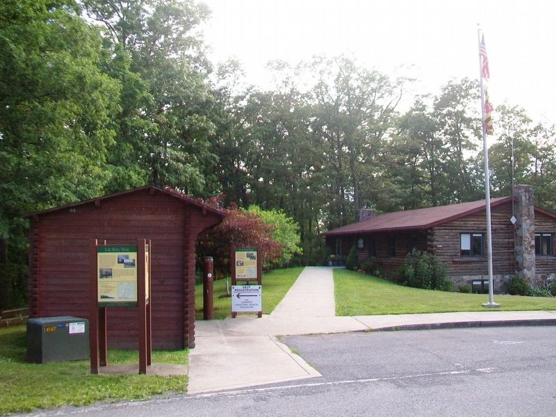 Markers at the Green Ridge State Forest Information Kiosk image. Click for full size.