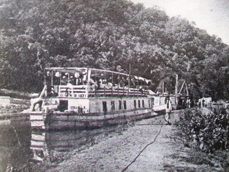 Mertens' C&O Canal Boat Photo on Long Pond Trail Marker image. Click for full size.