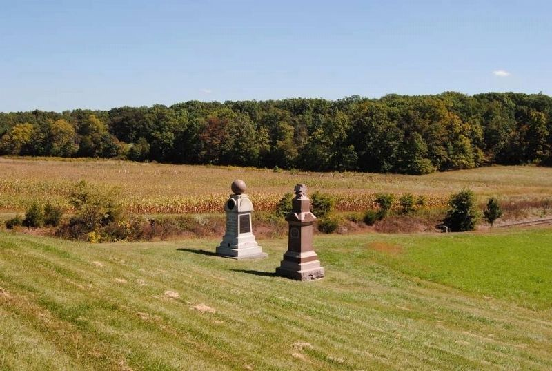 95th New York Infantry Monument (Left)<br>Railroad Cut in Background image. Click for full size.