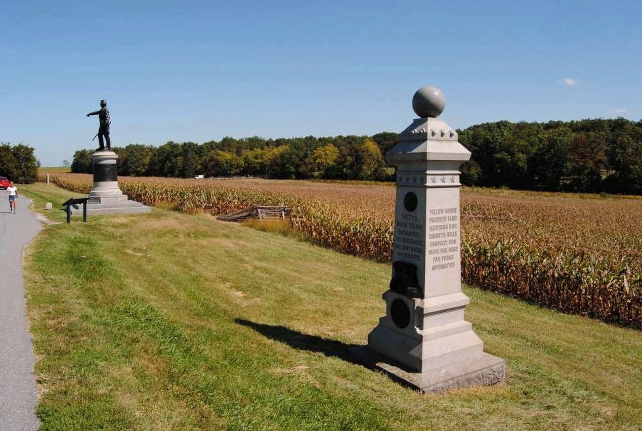 147th New York Infantry Monument<br>Looking North Along Reynolds Avenue image. Click for full size.