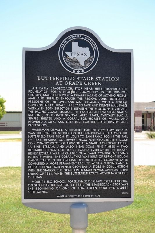 Butterfield Stage Station at Grape Creek Marker image. Click for full size.