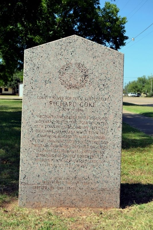 County Named for Texas Confederate Richard Coke Marker image. Click for full size.